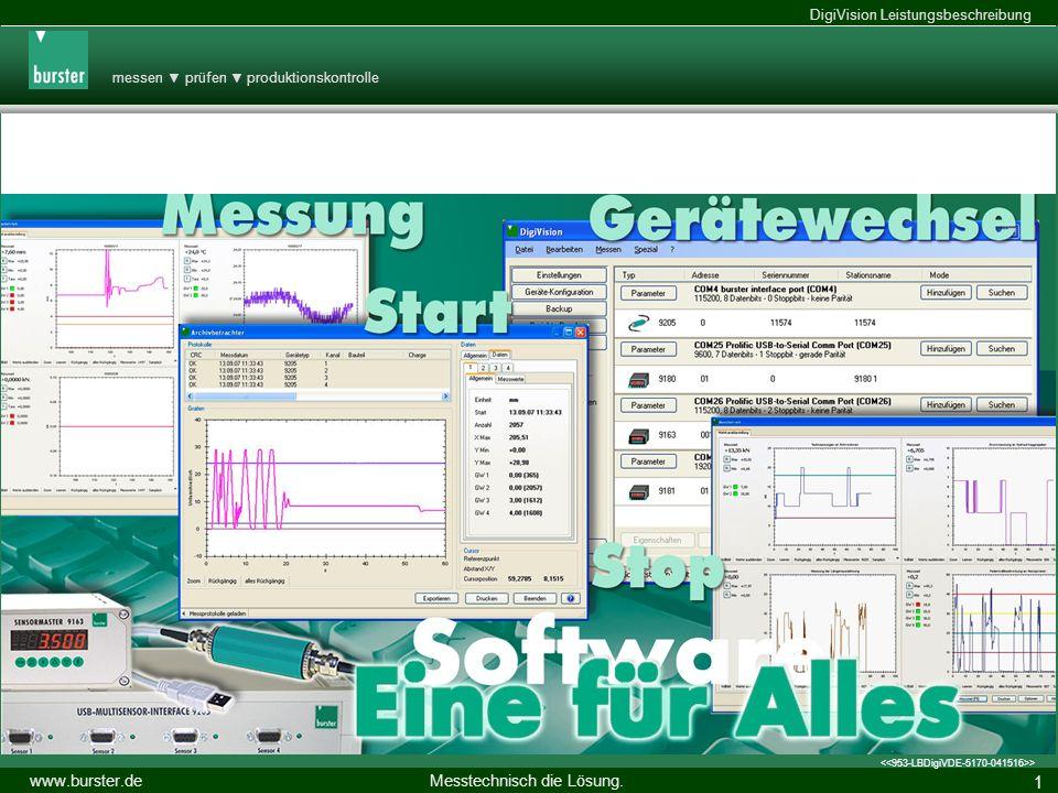 messen prüfen produktionskontrolle Messtechnisch die Lösung. www.burster.de DigiVision Leistungsbeschreibung > DigiVision - Eine für Alles 14.11.2013