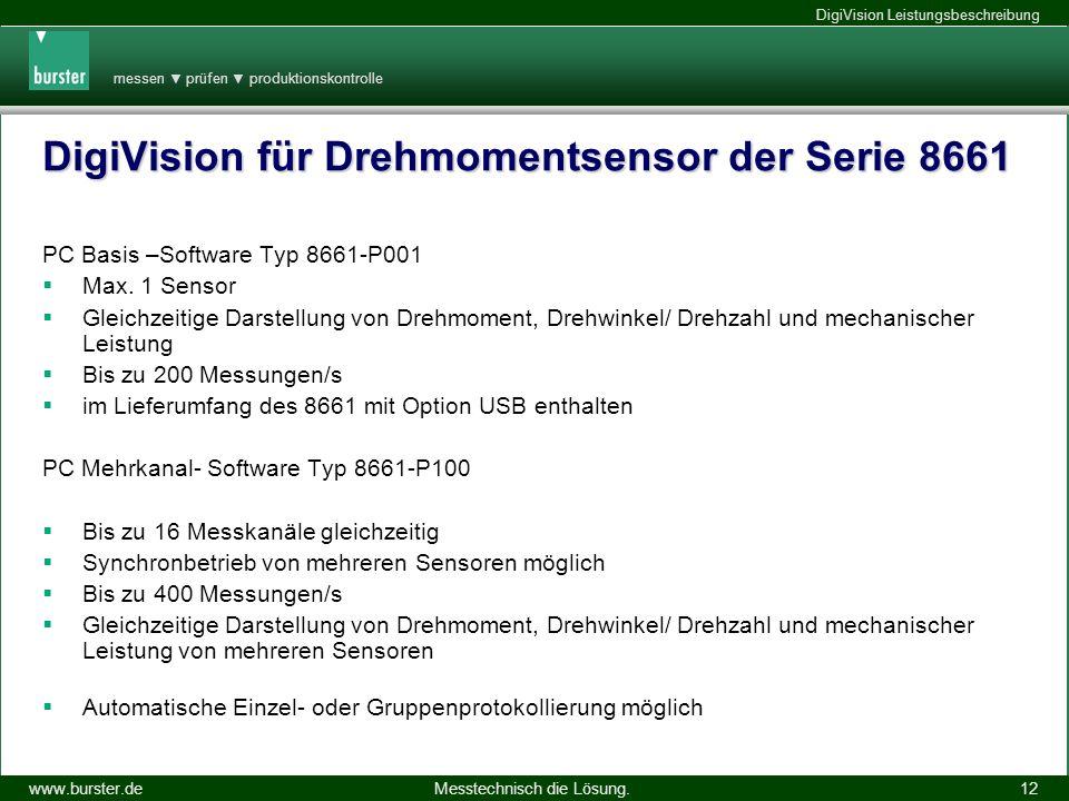 messen prüfen produktionskontrolle Messtechnisch die Lösung.www.burster.de DigiVision Leistungsbeschreibung 14.11.2013 12 DigiVision für Drehmomentsen