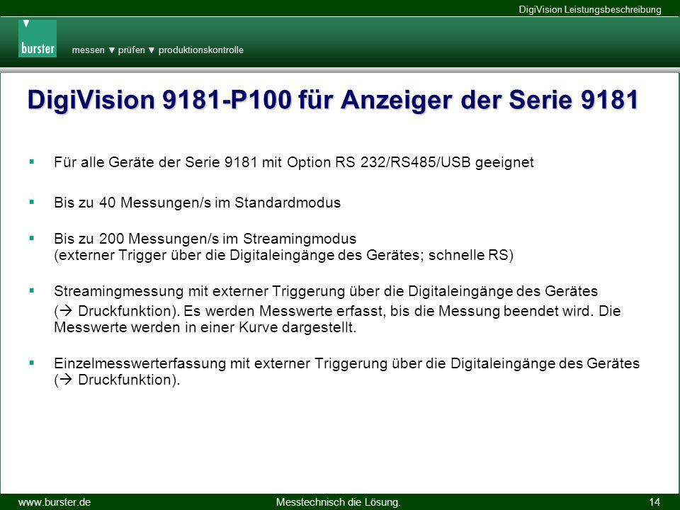 messen prüfen produktionskontrolle Messtechnisch die Lösung.www.burster.de DigiVision Leistungsbeschreibung 14.11.2013 14 DigiVision 9181-P100 für Anz