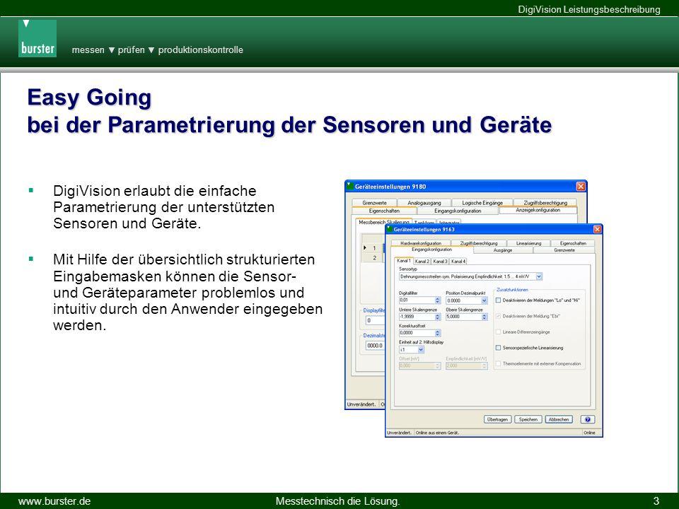 messen prüfen produktionskontrolle Messtechnisch die Lösung.www.burster.de DigiVision Leistungsbeschreibung 14.11.2013 3 Easy Going bei der Parametrie
