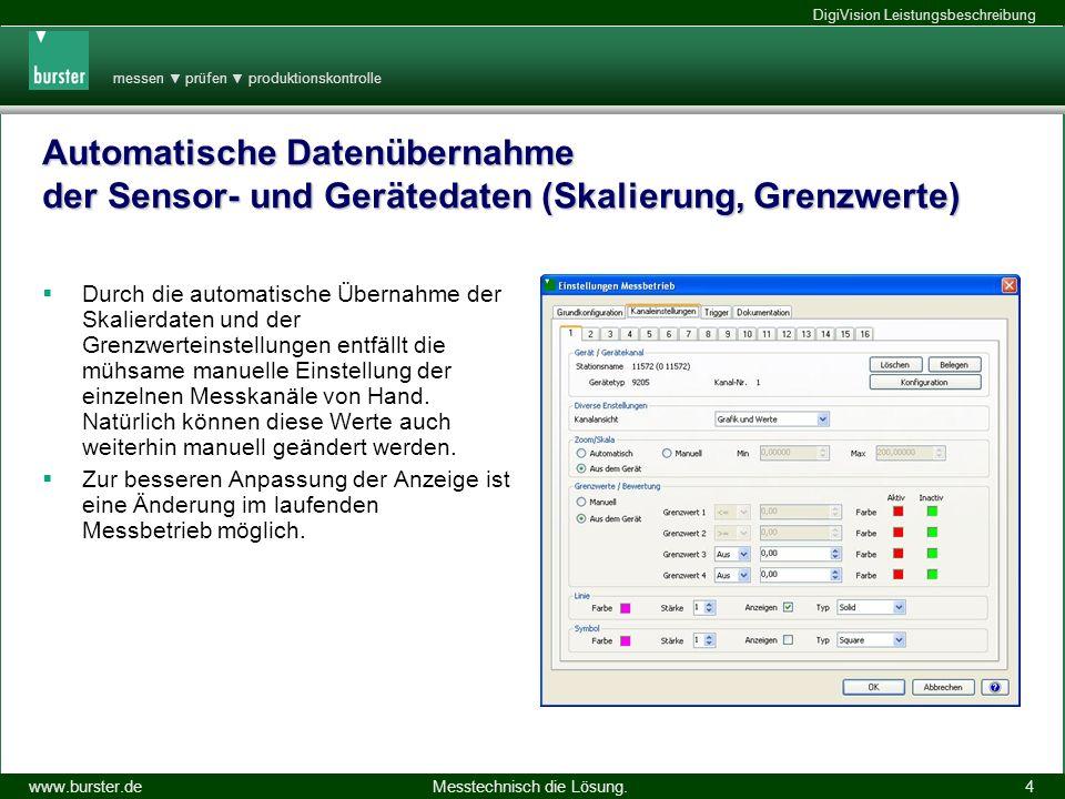 messen prüfen produktionskontrolle Messtechnisch die Lösung.www.burster.de DigiVision Leistungsbeschreibung 14.11.2013 15 DigiVision für USB Sensorinterface 9205 9205-P001 Max.