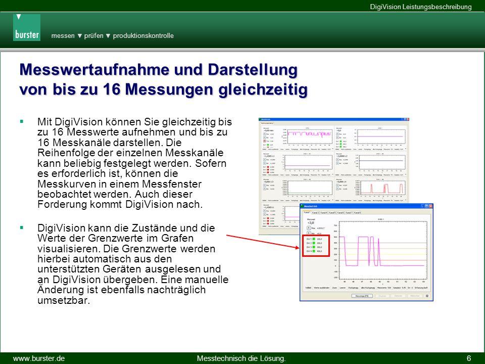 messen prüfen produktionskontrolle Messtechnisch die Lösung.www.burster.de DigiVision Leistungsbeschreibung 14.11.2013 6 Messwertaufnahme und Darstell