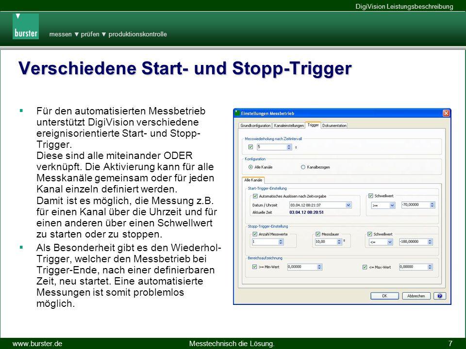 messen prüfen produktionskontrolle Messtechnisch die Lösung.www.burster.de DigiVision Leistungsbeschreibung 14.11.2013 7 Verschiedene Start- und Stopp