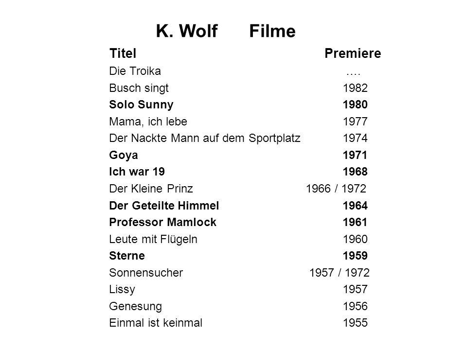 K. WolfFilme Titel Premiere Die Troika …. Busch singt1982 Solo Sunny1980 Mama, ich lebe1977 Der Nackte Mann auf dem Sportplatz 1974 Goya1971 Ich war 1
