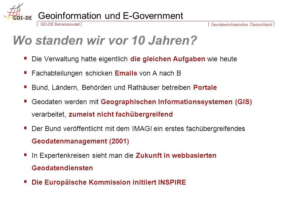 Geodateninfrastruktur Deutschland GDI-DE Betriebsmodell Wo standen wir vor 10 Jahren.
