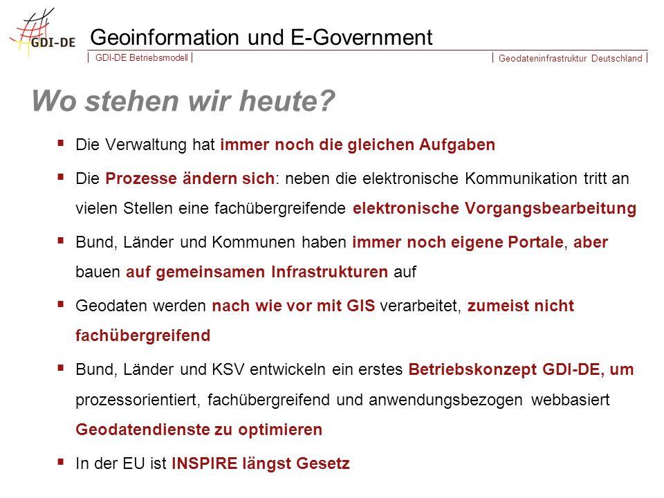Geodateninfrastruktur Deutschland GDI-DE Betriebsmodell Wo stehen wir heute.