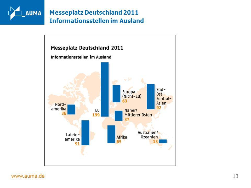 www.auma.de 13 Messeplatz Deutschland 2011 Informationsstellen im Ausland
