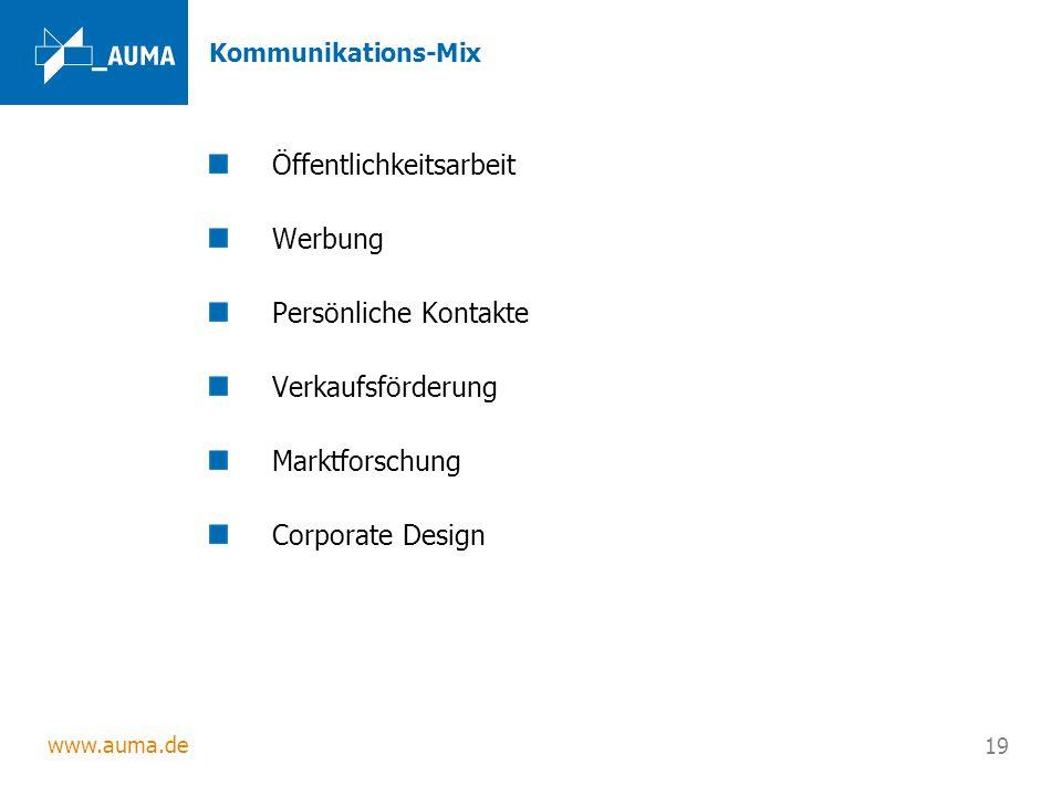 www.auma.de 19 Kommunikations-Mix Öffentlichkeitsarbeit Werbung Persönliche Kontakte Verkaufsförderung Marktforschung Corporate Design