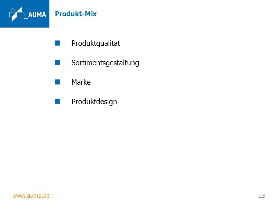 www.auma.de 23 Produkt-Mix Produktqualität Sortimentsgestaltung Marke Produktdesign