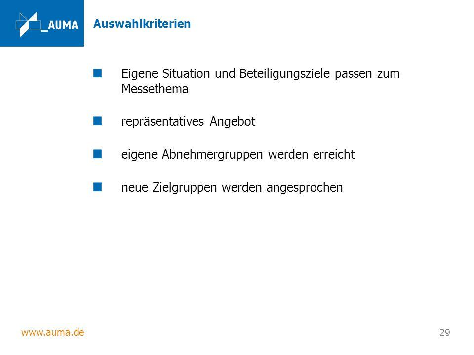 www.auma.de 29 Auswahlkriterien Eigene Situation und Beteiligungsziele passen zum Messethema repräsentatives Angebot eigene Abnehmergruppen werden err