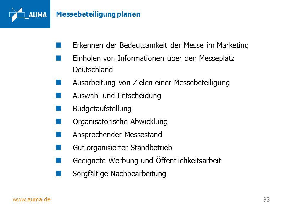 www.auma.de 33 Messebeteiligung planen Erkennen der Bedeutsamkeit der Messe im Marketing Einholen von Informationen über den Messeplatz Deutschland Au
