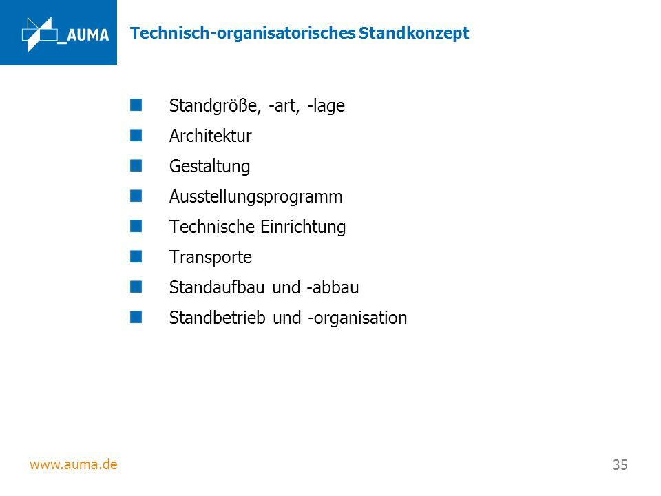 www.auma.de 35 Technisch-organisatorisches Standkonzept Standgröße, -art, -lage Architektur Gestaltung Ausstellungsprogramm Technische Einrichtung Tra