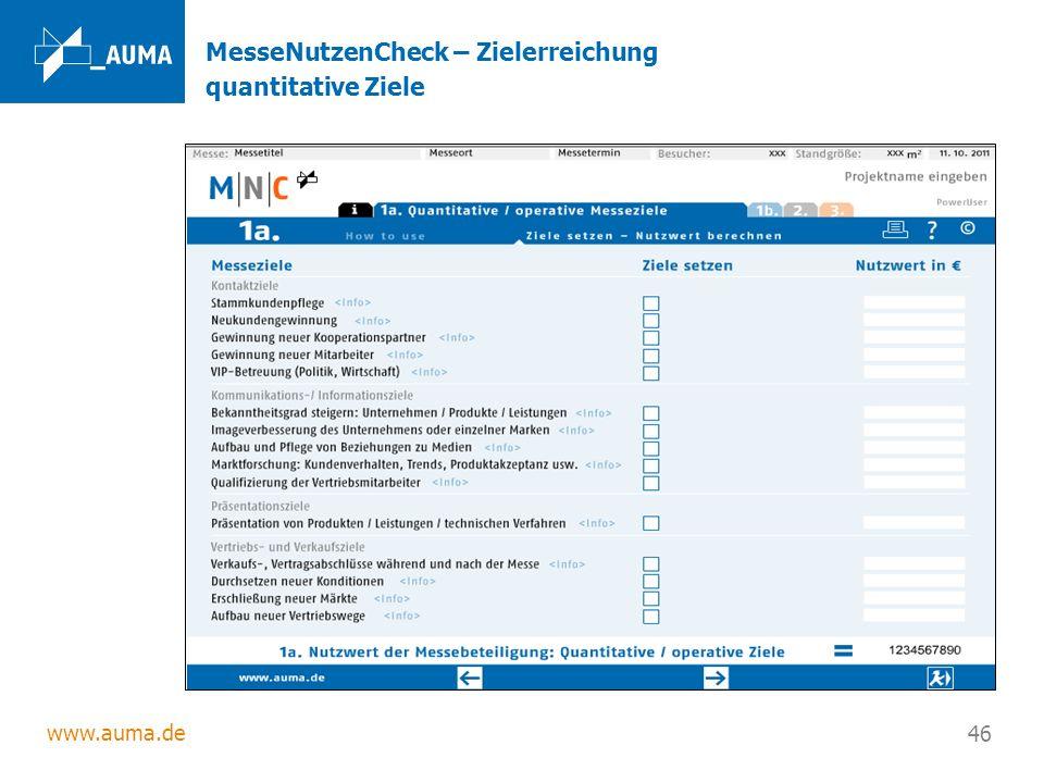 www.auma.de 46 MesseNutzenCheck – Zielerreichung quantitative Ziele