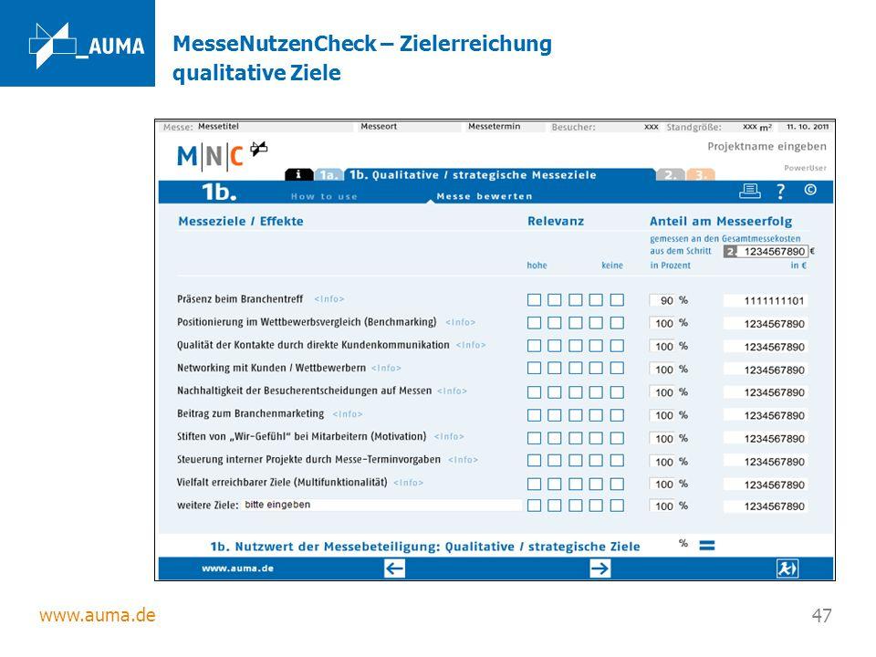 www.auma.de 47 MesseNutzenCheck – Zielerreichung qualitative Ziele