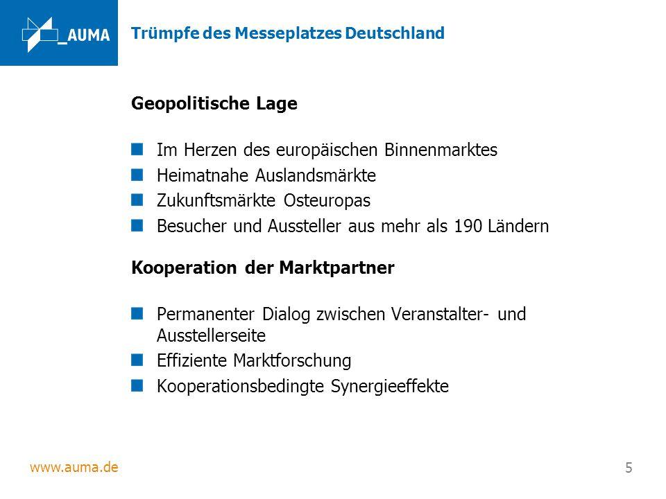 www.auma.de 5 Trümpfe des Messeplatzes Deutschland Geopolitische Lage Im Herzen des europäischen Binnenmarktes Heimatnahe Auslandsmärkte Zukunftsmärkt