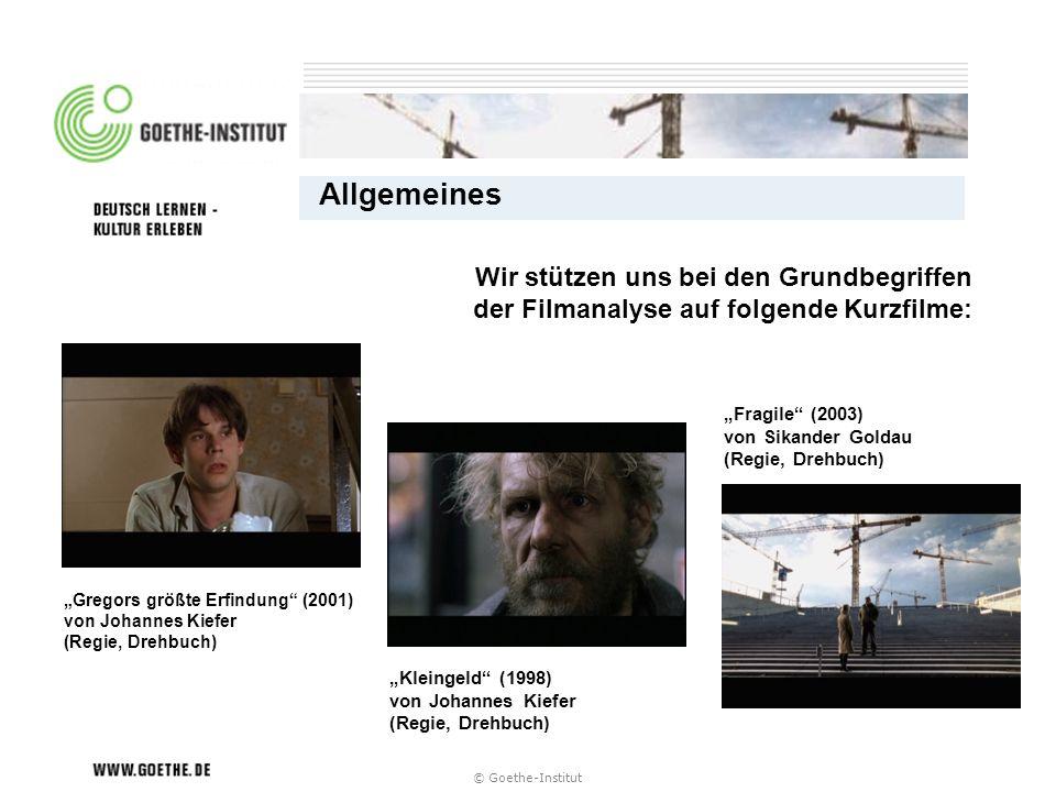© Goethe-Institut Wir stützen uns bei den Grundbegriffen der Filmanalyse auf folgende Kurzfilme: Fragile (2003) von Sikander Goldau (Regie, Drehbuch)