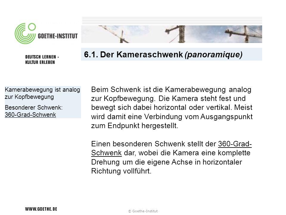 © Goethe-Institut Kamerabewegung ist analog zur Kopfbewegung Besonderer Schwenk: 360-Grad-Schwenk 6.1. Der Kameraschwenk (panoramique) Beim Schwenk is
