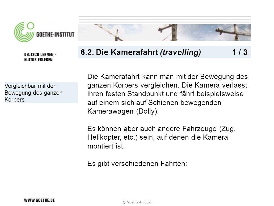 © Goethe-Institut Vergleichbar mit der Bewegung des ganzen Körpers 6.2. Die Kamerafahrt (travelling) 1 / 3 Die Kamerafahrt kann man mit der Bewegung d