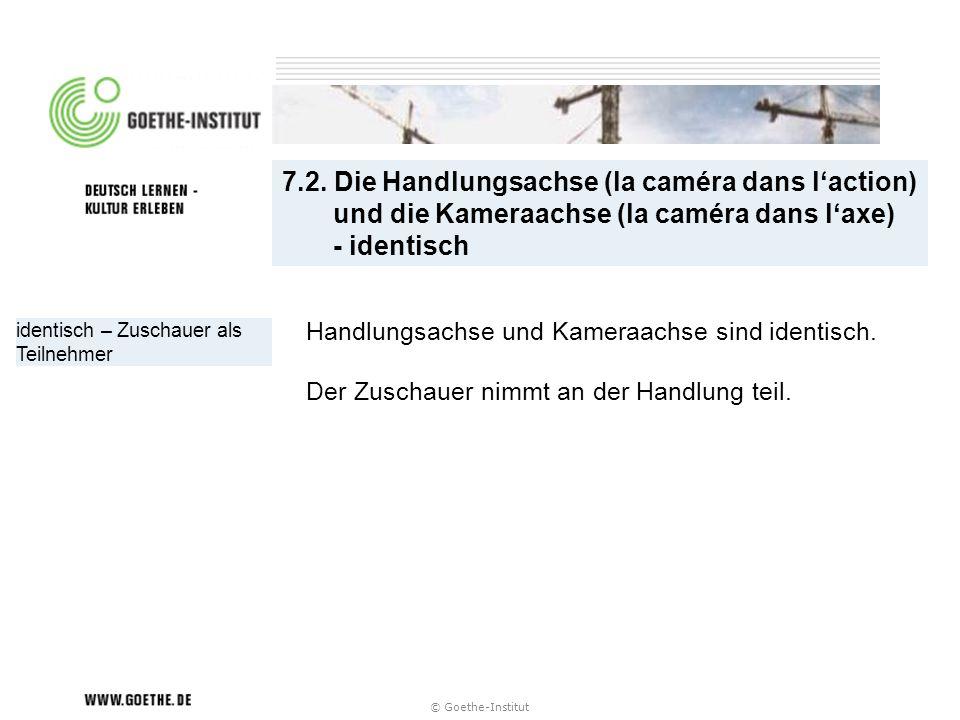 © Goethe-Institut identisch – Zuschauer als Teilnehmer Handlungsachse und Kameraachse sind identisch. Der Zuschauer nimmt an der Handlung teil. 7.2. D