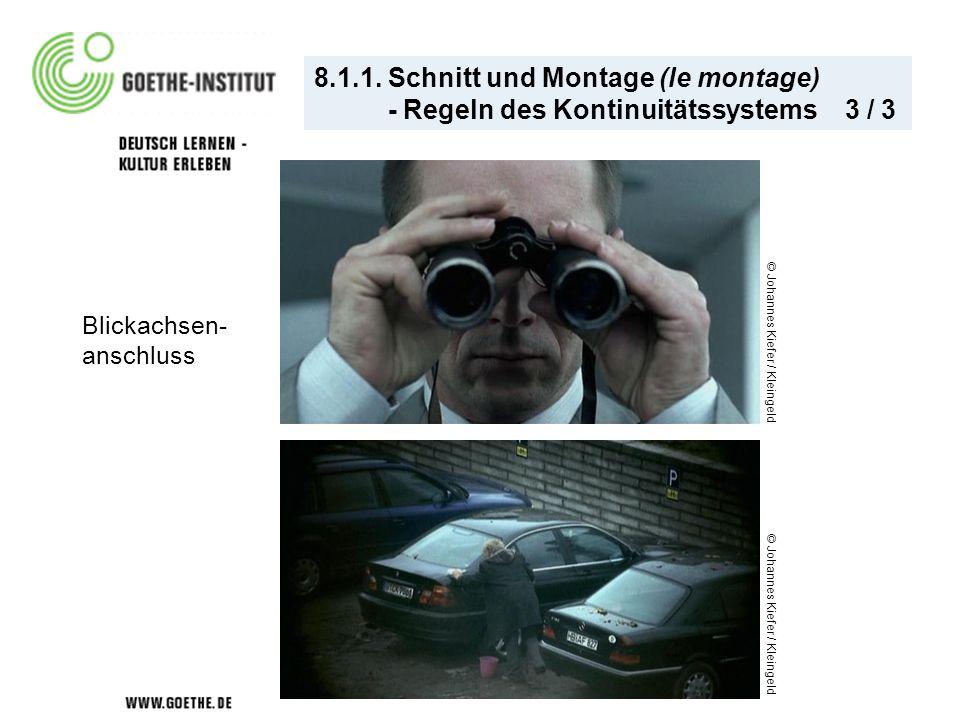 8.1.1. Schnitt und Montage (le montage) - Regeln des Kontinuitätssystems 3 / 3 © Johannes Kiefer / Kleingeld Blickachsen- anschluss © Johannes Kiefer