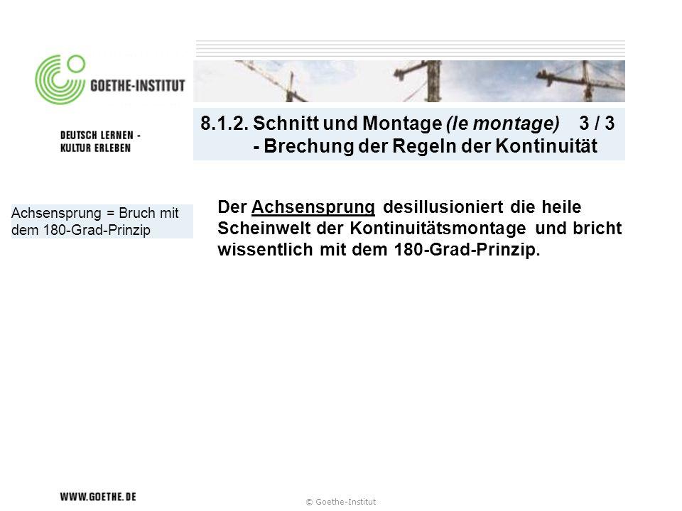 © Goethe-Institut Achsensprung = Bruch mit dem 180-Grad-Prinzip 8.1.2. Schnitt und Montage (le montage) 3 / 3 - Brechung der Regeln der Kontinuität De
