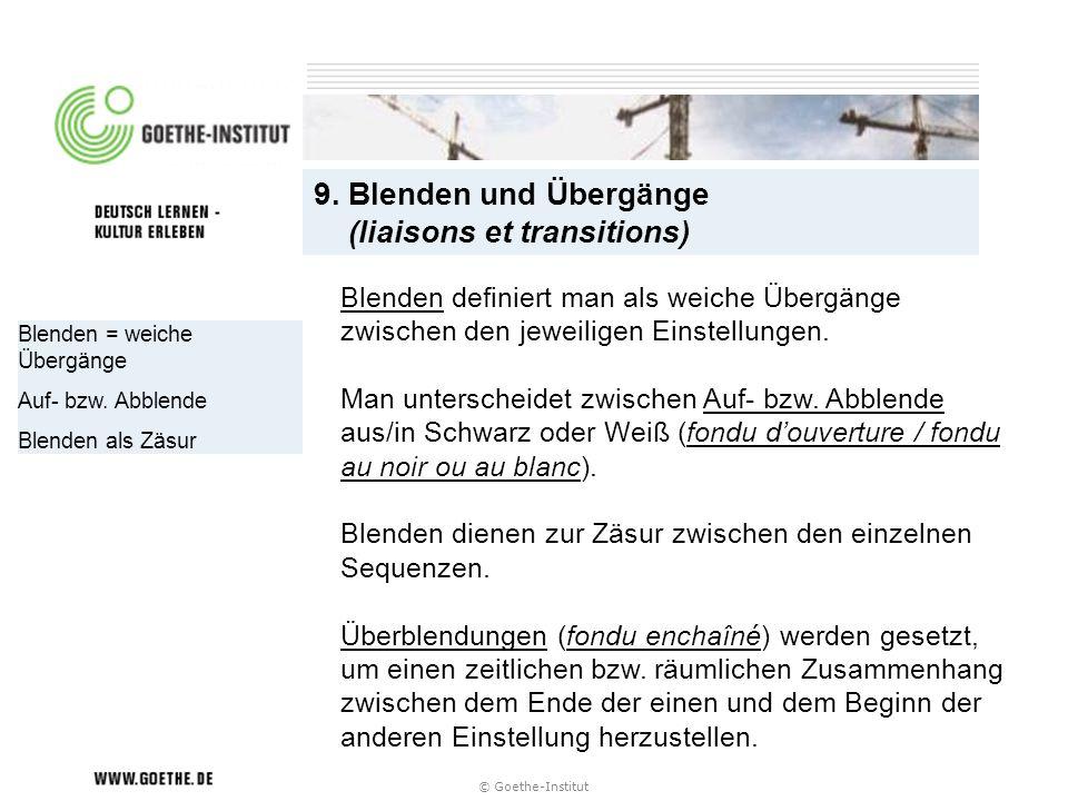 © Goethe-Institut Blenden = weiche Übergänge Auf- bzw. Abblende Blenden als Zäsur 9. Blenden und Übergänge (liaisons et transitions) Blenden definiert