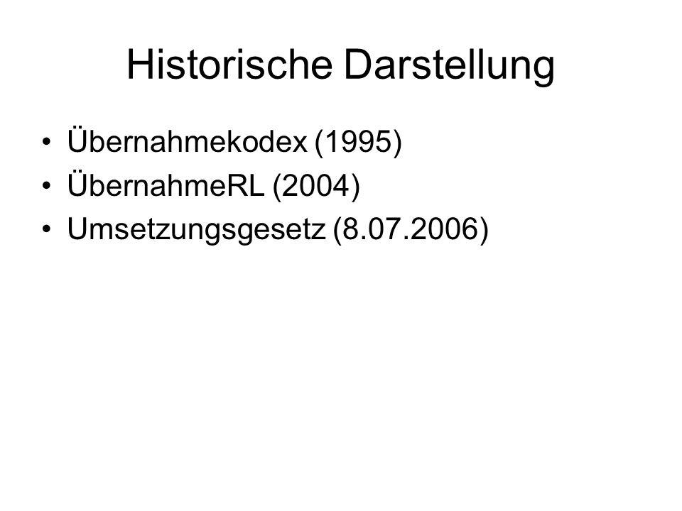Historische Darstellung Übernahmekodex (1995) ÜbernahmeRL (2004) Umsetzungsgesetz (8.07.2006)
