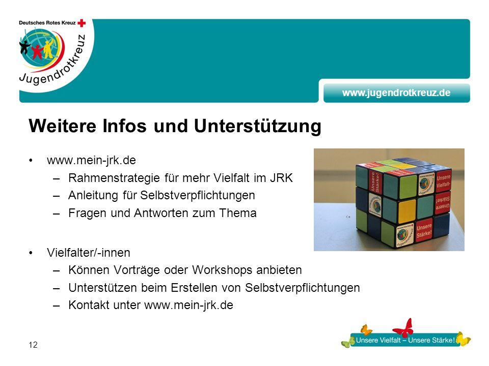www.jugendrotkreuz.de 12 Weitere Infos und Unterstützung www.mein-jrk.de –Rahmenstrategie für mehr Vielfalt im JRK –Anleitung für Selbstverpflichtunge