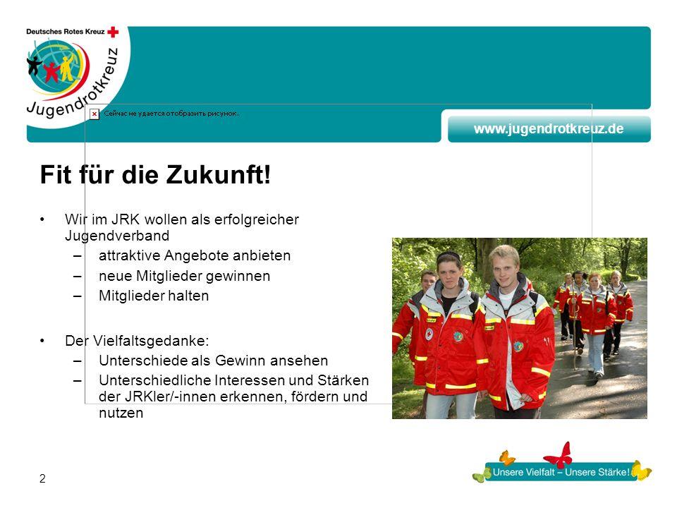 www.jugendrotkreuz.de 2 Fit für die Zukunft! Wir im JRK wollen als erfolgreicher Jugendverband –attraktive Angebote anbieten –neue Mitglieder gewinnen