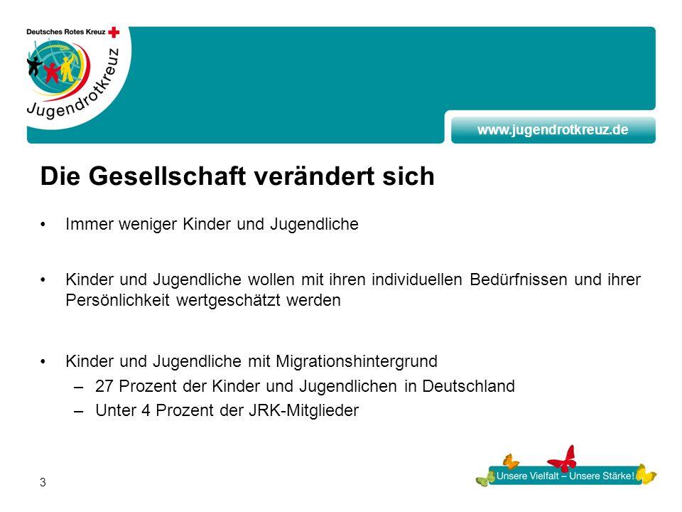 www.jugendrotkreuz.de 3 Die Gesellschaft verändert sich Immer weniger Kinder und Jugendliche Kinder und Jugendliche wollen mit ihren individuellen Bed