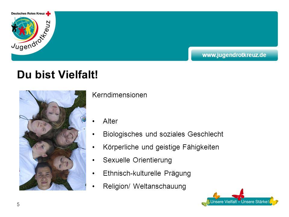 www.jugendrotkreuz.de 5 Du bist Vielfalt! Kerndimensionen Alter Biologisches und soziales Geschlecht Körperliche und geistige Fähigkeiten Sexuelle Ori