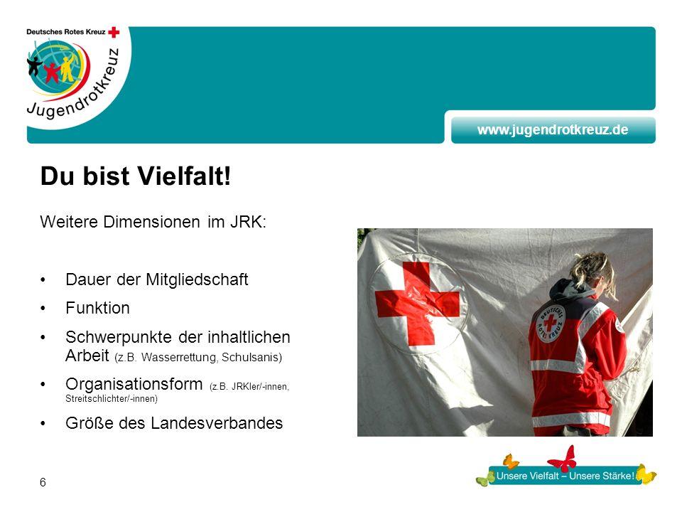 www.jugendrotkreuz.de 6 Du bist Vielfalt! Weitere Dimensionen im JRK: Dauer der Mitgliedschaft Funktion Schwerpunkte der inhaltlichen Arbeit (z.B. Was