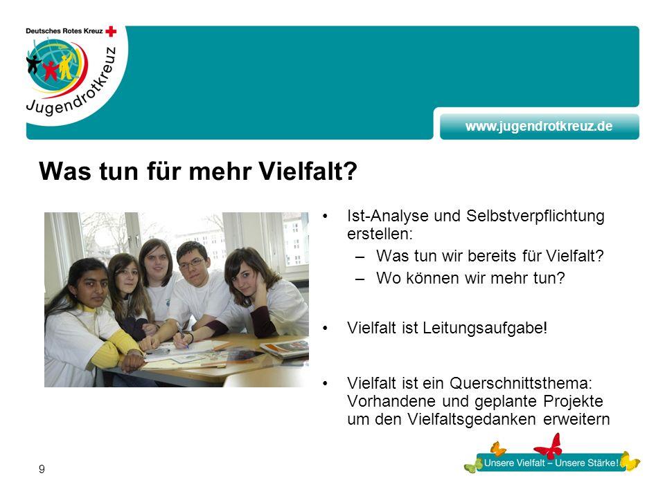 www.jugendrotkreuz.de 9 Was tun für mehr Vielfalt? Ist-Analyse und Selbstverpflichtung erstellen: –Was tun wir bereits für Vielfalt? –Wo können wir me