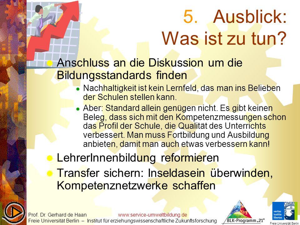 5.Ausblick: Was ist zu tun? Anschluss an die Diskussion um die Bildungsstandards finden Nachhaltigkeit ist kein Lernfeld, das man ins Belieben der Sch