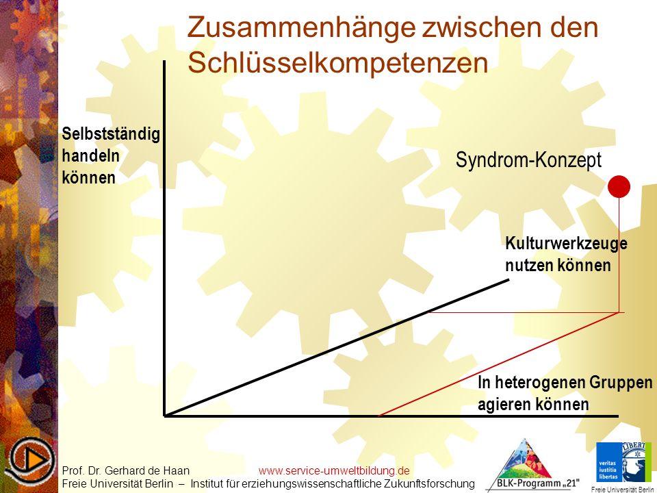 Zusammenhänge zwischen den Schlüsselkompetenzen Prof. Dr. Gerhard de Haan www.service-umweltbildung.de Freie Universität Berlin – Institut für erziehu