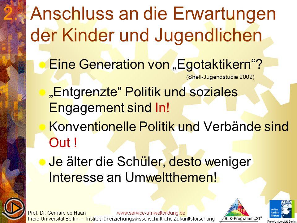 2.Anschluss an die Erwartungen der Kinder und Jugendlichen Eine Generation von Egotaktikern? (Shell-Jugendstudie 2002) Entgrenzte Politik und soziales