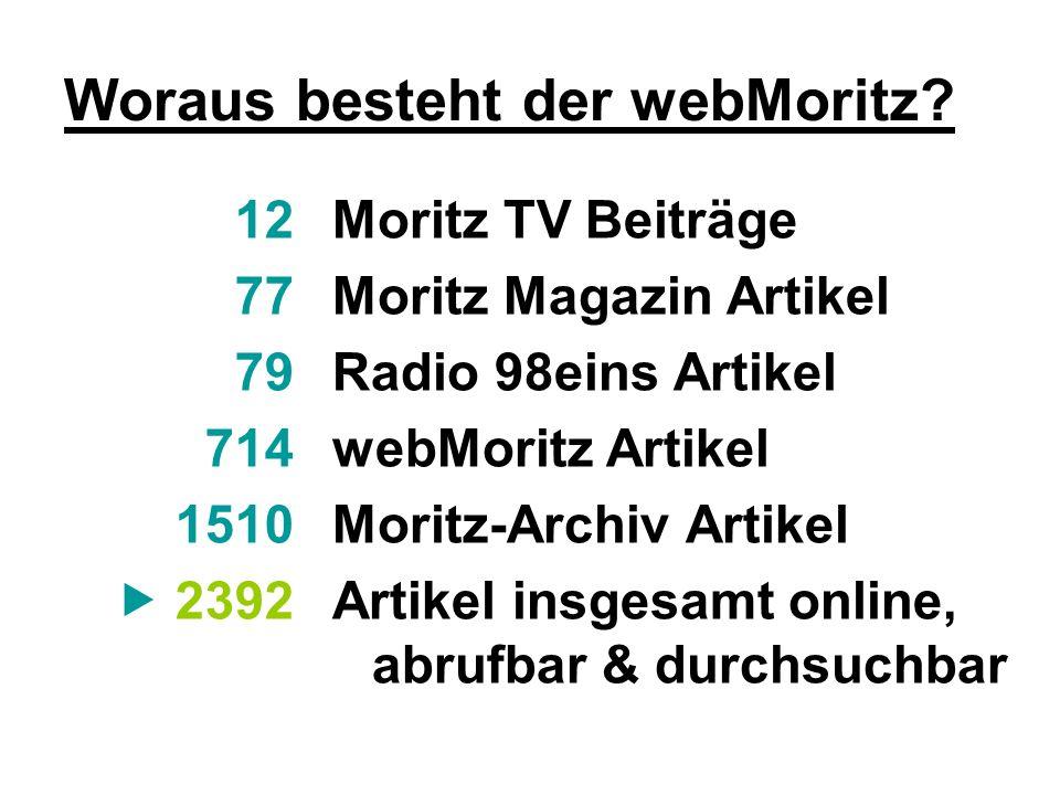 Woraus besteht der webMoritz? Moritz TV Beiträge Moritz Magazin Artikel Radio 98eins Artikel webMoritz Artikel Moritz-Archiv Artikel Artikel insgesamt