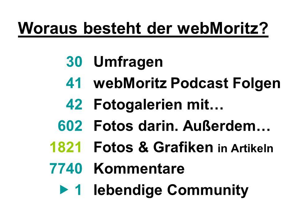 Umfragen webMoritz Podcast Folgen Fotogalerien mit… Fotos darin. Außerdem… Fotos & Grafiken in Artikeln Kommentare lebendige Community 30 41 42 602 18
