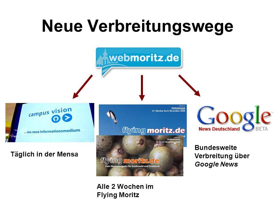 Neue Verbreitungswege Täglich in der Mensa Alle 2 Wochen im Flying Moritz Bundesweite Verbreitung über Google News