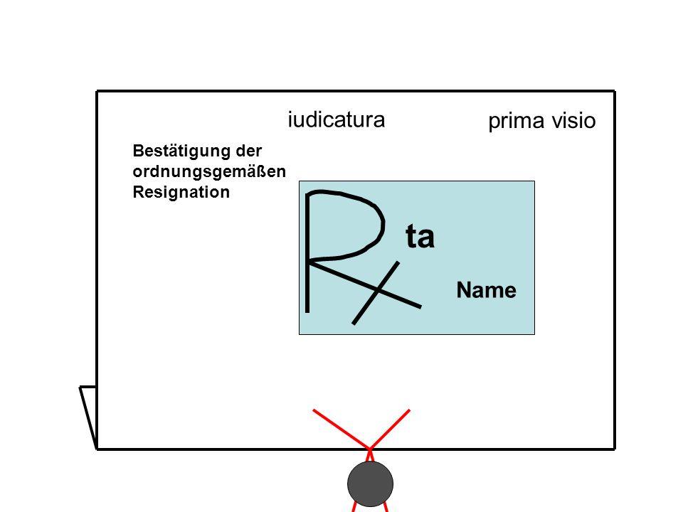 Bestätigung der ordnungsgemäßen Resignation ta Name prima visio iudicatura