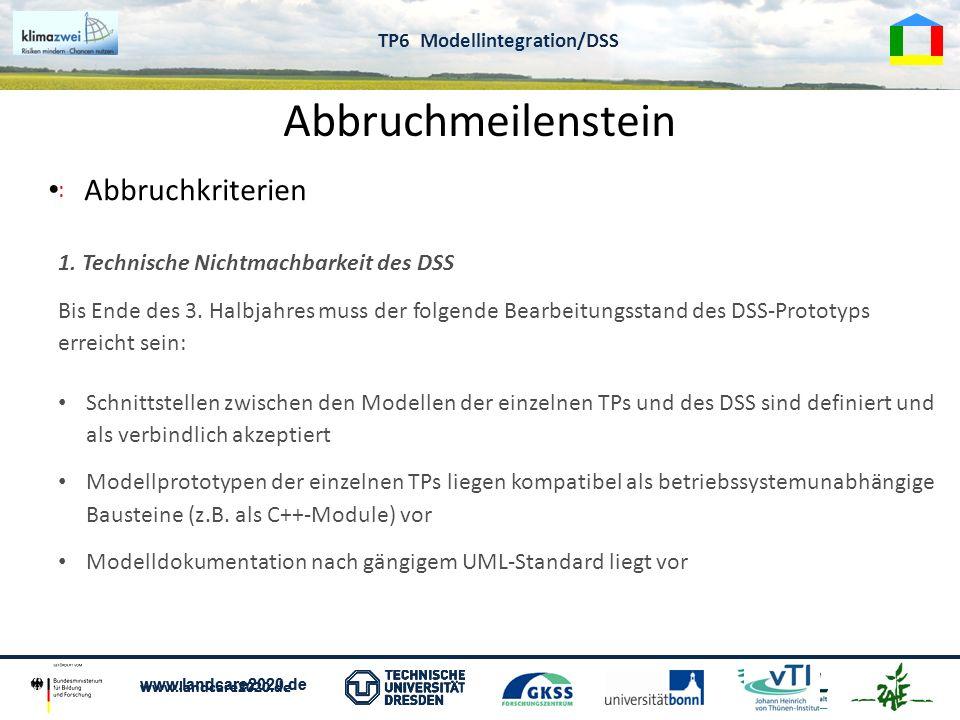 www.landcare2020.de TP 6 Modellintegration Abbruchmeilenstein Abbruchkriterien www.landcare2020.de TP6 Modellintegration/DSS : 1. Technische Nichtmach