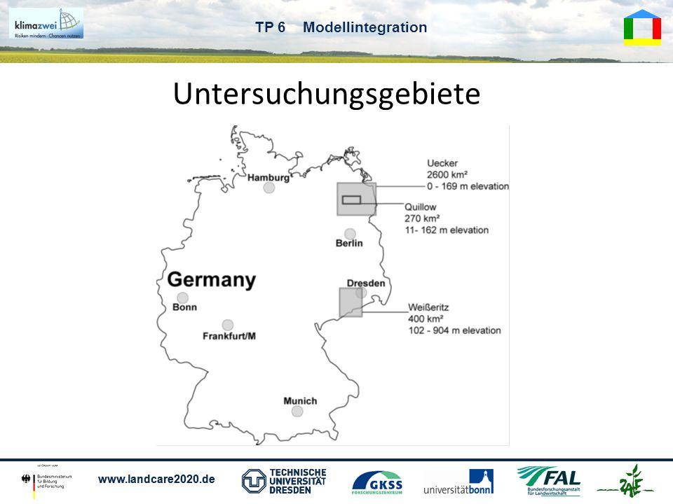 www.landcare2020.de TP 6 Modellintegration Klimadaten SRES Szenario A1B und B1 jeweils 3 Realisierungen Tageswerte: Tmin, Tmax, Tmit, Nied, GR,...
