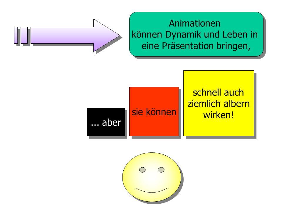 PowerPoint liefert zahlreiche Möglichkeiten der optischen Gestaltung Im Gegensatz zu den Möglichkeiten früherer Jahre, bietet PowerPoint nahezu unzähl