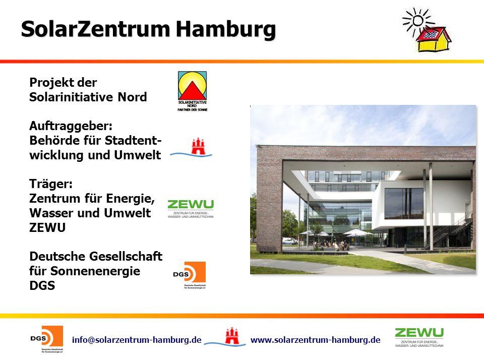 info@solarzentrum-hamburg.de www.solarzentrum-hamburg.de SolarZentrum Hamburg Projekt der Solarinitiative Nord Auftraggeber: Behörde für Stadtent- wic