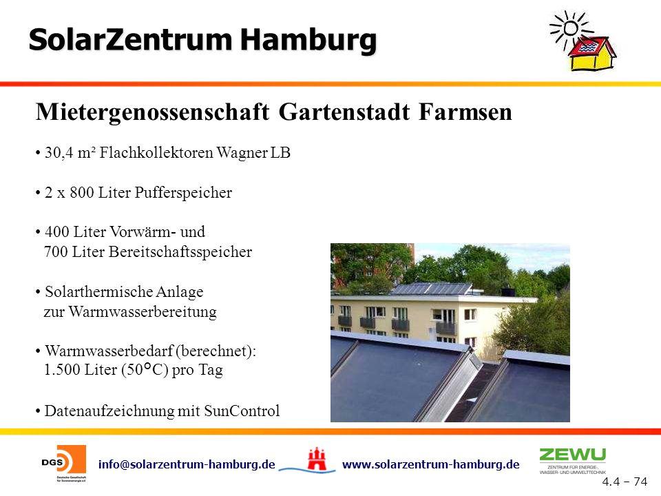 info@solarzentrum-hamburg.de www.solarzentrum-hamburg.de SolarZentrum Hamburg 4.4 – 74 Mietergenossenschaft Gartenstadt Farmsen 30,4 m² Flachkollektor