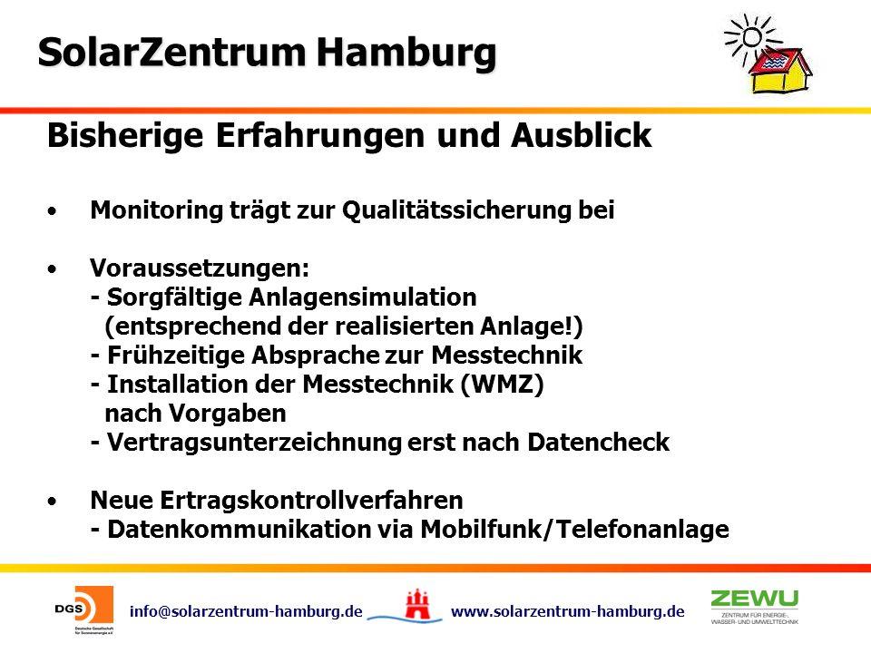 info@solarzentrum-hamburg.de www.solarzentrum-hamburg.de SolarZentrum Hamburg Bisherige Erfahrungen und Ausblick Monitoring trägt zur Qualitätssicheru