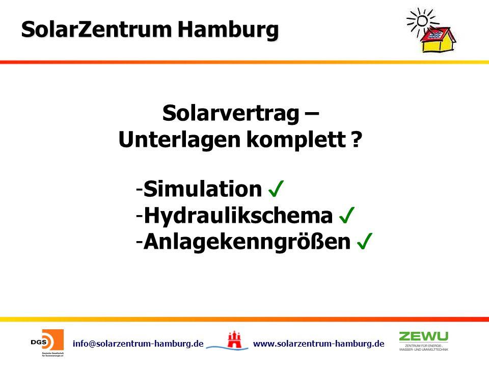 info@solarzentrum-hamburg.de www.solarzentrum-hamburg.de SolarZentrum Hamburg Solarvertrag – Unterlagen komplett ? -Simulation -Hydraulikschema -Anlag