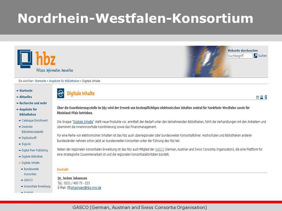 GASCO (German, Austrian and Swiss Consortia Organisation) Nordrhein-Westfalen-Konsortium