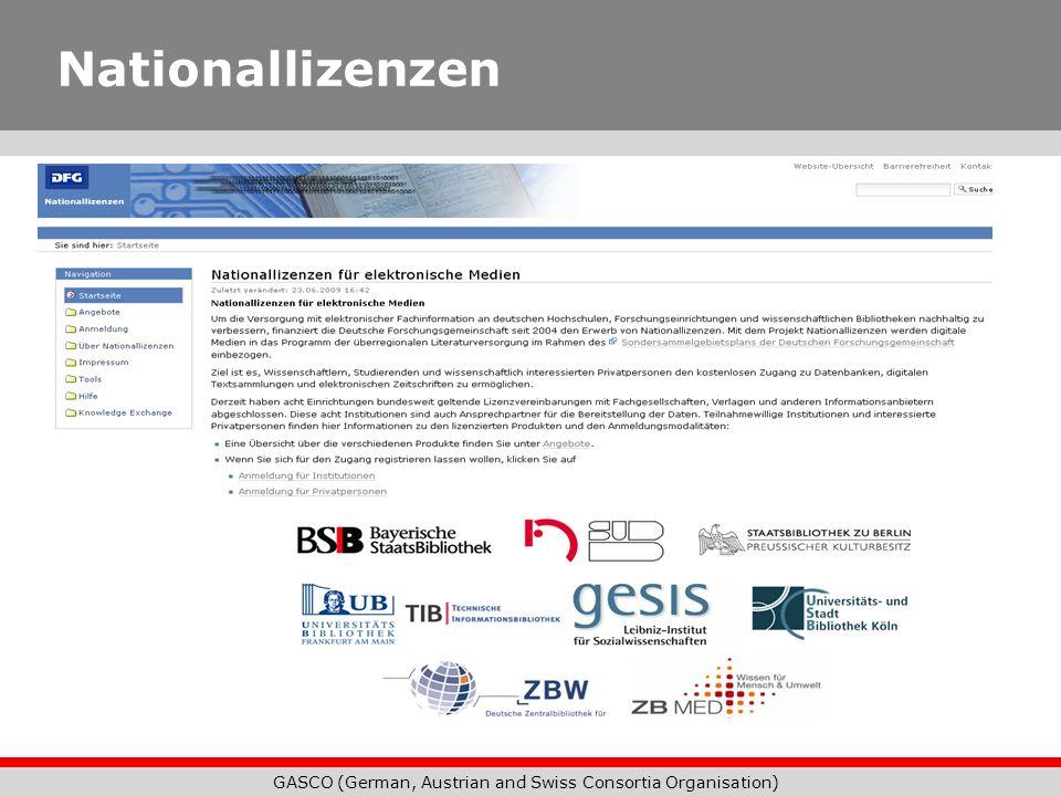 GASCO (German, Austrian and Swiss Consortia Organisation) Nationallizenzen