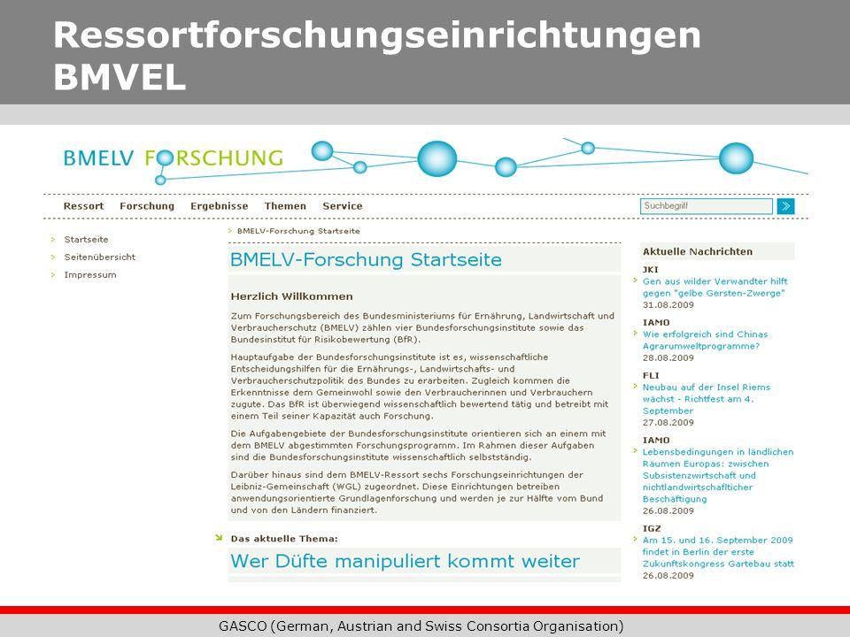 GASCO (German, Austrian and Swiss Consortia Organisation) Ressortforschungseinrichtungen BMVEL